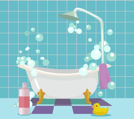 バスルームのインテリア。ベクトル フラット漫画イラスト  イラスト・ベクター素材