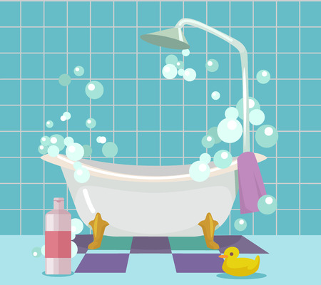 Bathroom interior. Vector flat cartoon illustration Çizim