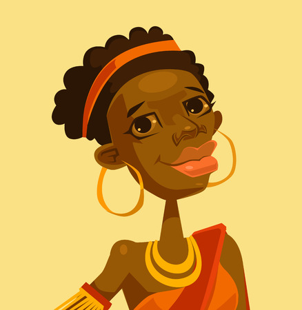 black woman face: Black woman face character. Vector flat cartoon illustration Illustration