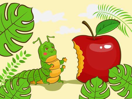 Caterpillar character eating red apple. Vector cartoon illustration