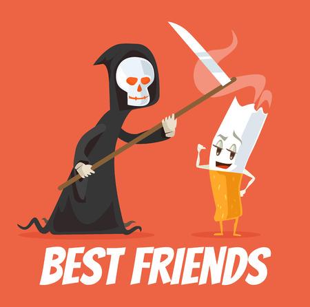 mortal danger: Death and cigarette characters best friends. Vector flat cartoon illustration