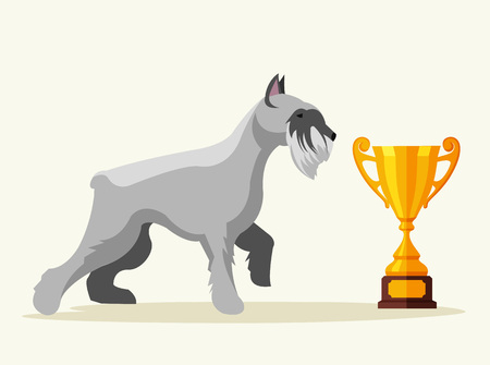 gold cup: Schnauzer dog character champion with gold cup. Vector flat cartoon illustration