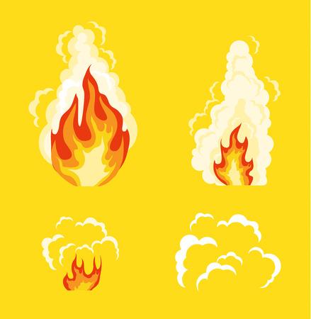 disappearance: Explosion animation effect. Vector flat cartoon illustration set Illustration