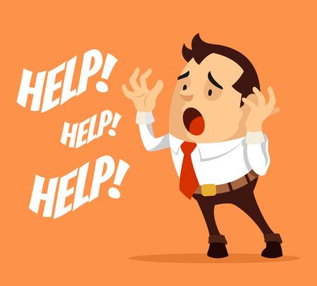 needy: Man character need help. Vector flat cartoon illustration