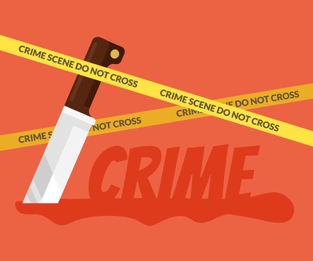crime scene: Bloody knife. Crime scene. Vector flat cartoon illustration