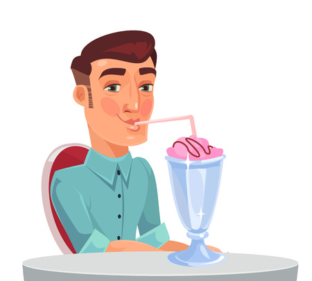 single man: Single man character drinking cocktail alone in cafe. Vector flat cartoon illustration