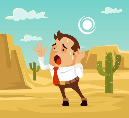 Człowiek zagubiony w postaci pustyni. Potrzebuję pomocy. Wektor ilustracja kreskówka płaska Ilustracje wektorowe