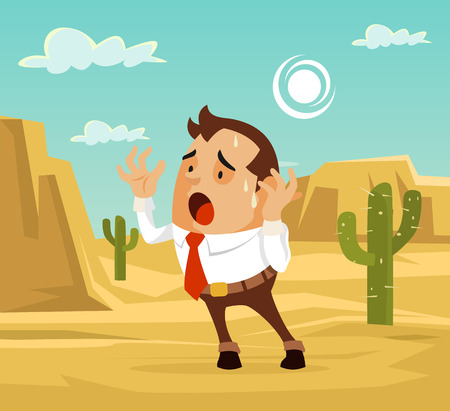 distressed: Man character lost in desert. Need help. Vector flat cartoon illustration