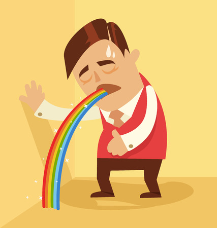the hangover: Comic man character pukes rainbow. Vector flat cartoon illustration