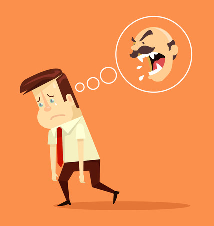 subordinate: Angry boss. Fired office worker character. Vector flat cartoon illustration