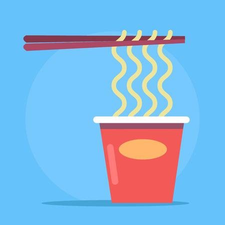 nutritive: Noodles in cardboard packaging. Vector flat cartoon illustration