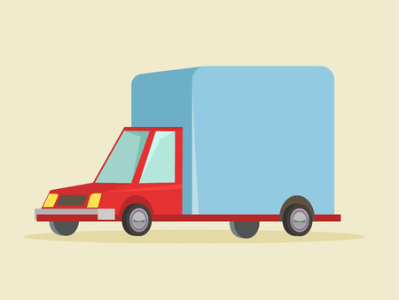 Delivery cartoon truck icon. Vector flat illustration