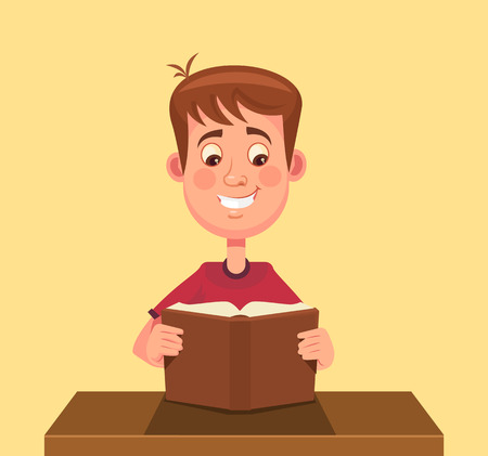 boy smiling: Little boy character reading book. Vector flat cartoon illustration Illustration