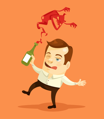 hallucinations: Drunk man character attacked by demon. Vector flat cartoon illustration