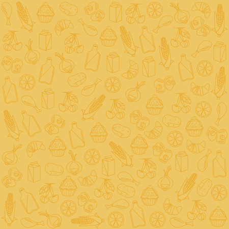 corne: Food background pattern. Vector flat cartoon illustration Illustration