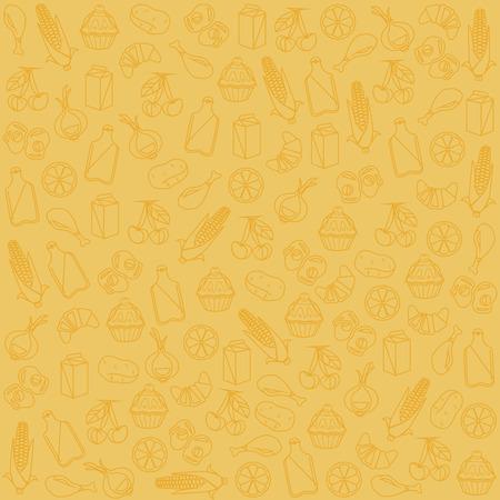 garlic bread: Food background pattern. Vector flat cartoon illustration Illustration