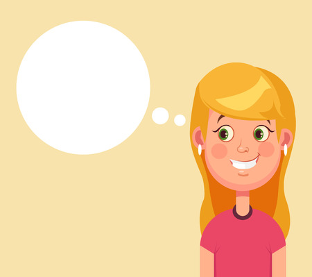 have: Woman character has good idea and speech bubble. Vector flat cartoon illustration Illustration