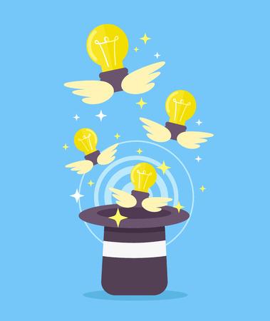 abracadabra: Light bulb fly from magic hat. Vector flat cartoon illustration