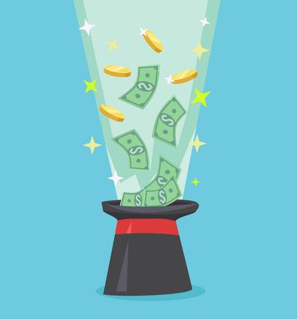flying money: Money flying out of black hat. Vector flat cartoon illustration icon Illustration