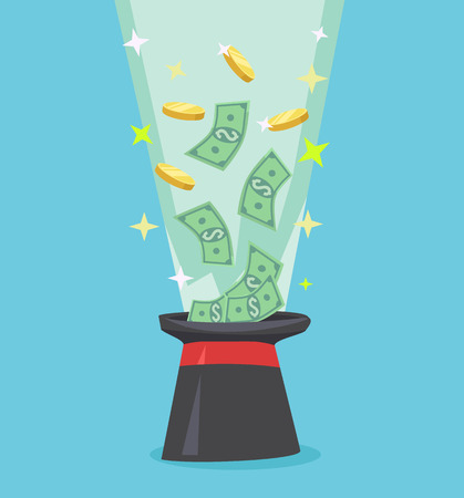 money flying: Vuelo del dinero fuera de sombrero negro. Ilustración vectorial icono de dibujos animados plana Vectores
