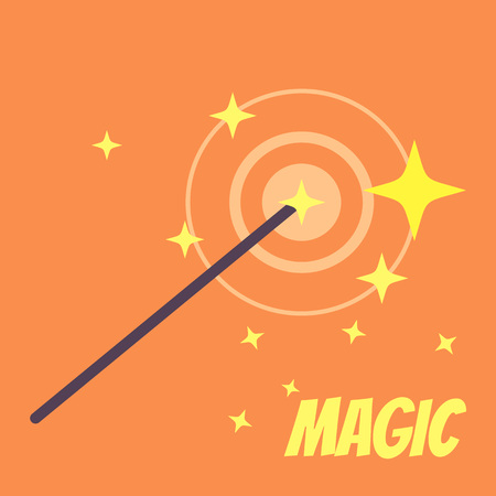 Magic wand. Vector flat cartoon illustration icon