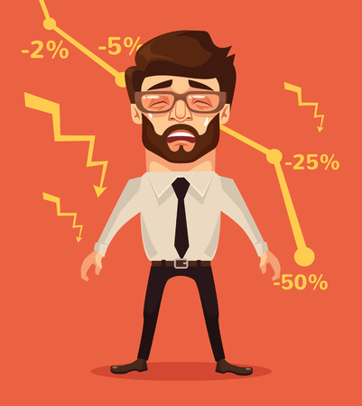 graph down: Business fail. Graph down. Crying businessman character. Vector flat cartoon illustration