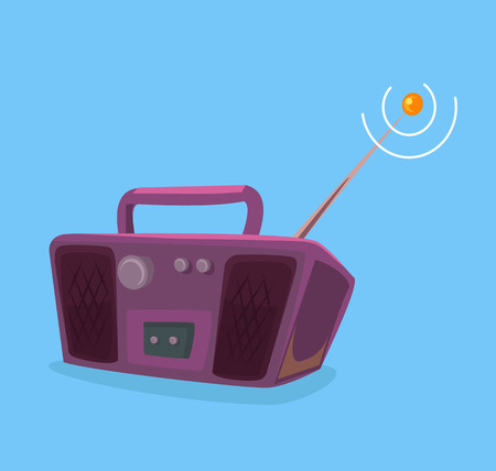 Old record player radio. Vector flat cartoon illustration