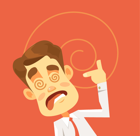 hysterical: Crazy man character. Hard work. Vector flat cartoon illustration Illustration