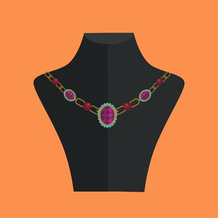 rack: Necklace icon. Vector flat cartoon illustration