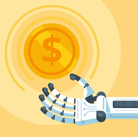 web robot: Gold coin in robot hand. Vector flat cartoon illustration