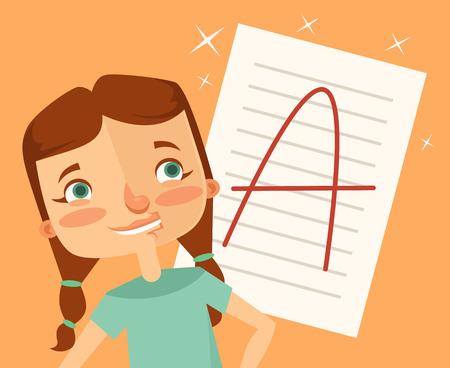 exam: Good girl student character. Vector flat cartoon illustration