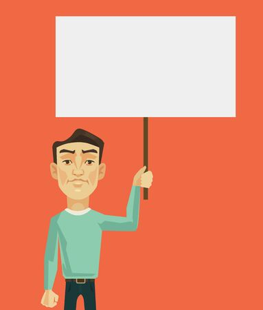 holding sign: Man characters protest. Vector flat cartoon illustration Illustration