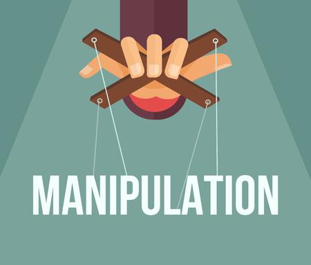 autoridad: La manipulación mano. Vector ilustración de dibujos animados plana