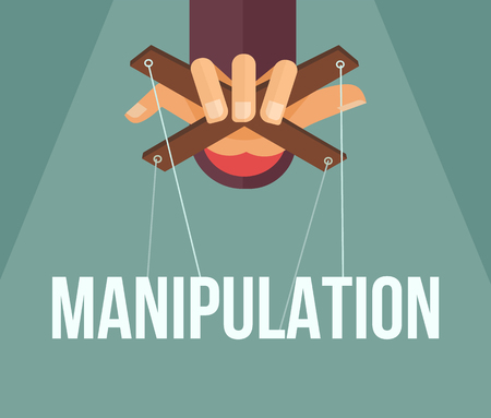 Manipulation hand. Vector flat cartoon illustration Иллюстрация