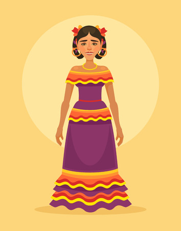 mexican dress: Mexican woman character in traditional dress. Vector flat cartoon illustration