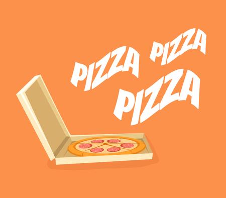 pizza box: caja de pizza. Vector ilustración de dibujos animados plana
