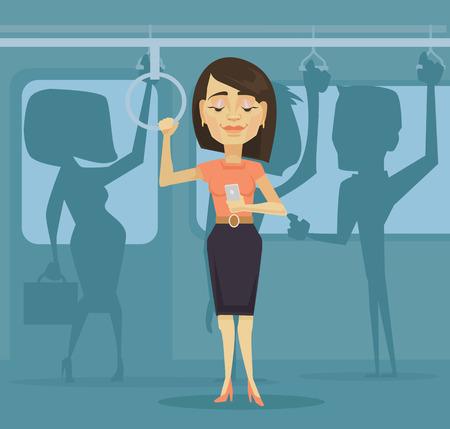 caractère Femme utilisant smartphone dans les transports en commun. Vector plate illustration de bande dessinée Vecteurs