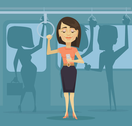 woman cellphone: Woman character using smartphone in public transport. Vector flat cartoon illustration