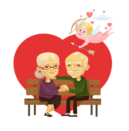 older woman smiling: Old people couple characters. Vector flat cartoon illustration Illustration