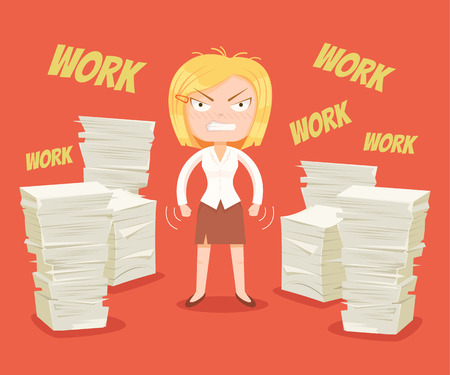 Hard work. Busy woman character. Vector flat cartoon illustration Иллюстрация