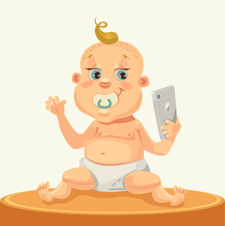 daughter cells: Little child character with smartphone. Vector flat cartoon illustration Illustration