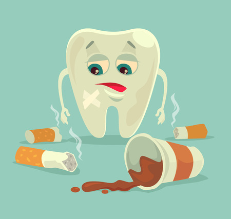 bad habits: Bad habits. Unhealthy tooth character with coffee and cigarette. Vector flat cartoon illustration