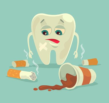 dientes sucios: Malos hábitos. personaje de los dientes saludables con el café y el cigarrillo. Vector ilustración de dibujos animados plana