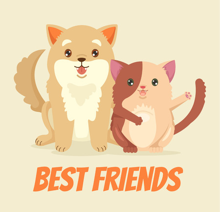 pet store advertising: Cat and dog characters. Vector flat cartoon illustration