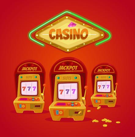 las vegas casino: Slot machine. Las Vegas casino. Vector flat cartoon illustration Illustration