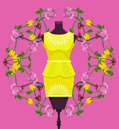 Mannequin with dress. Shop showcase. Vector flat cartoon illustration