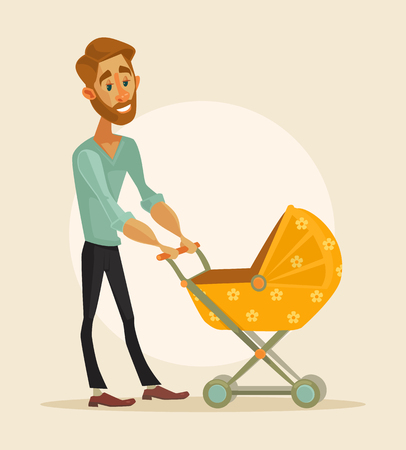 Happy father with baby. Vector flat cartoon illustration
