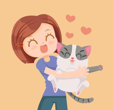 pareja abrazada: Niña y el gato caracteres abrazo. Mejores amigos. Vector ilustración de dibujos animados plana