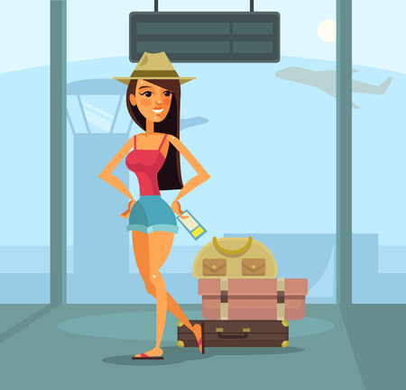 luggage travel: Traveler woman character in airport. Vector flat cartoon illustration