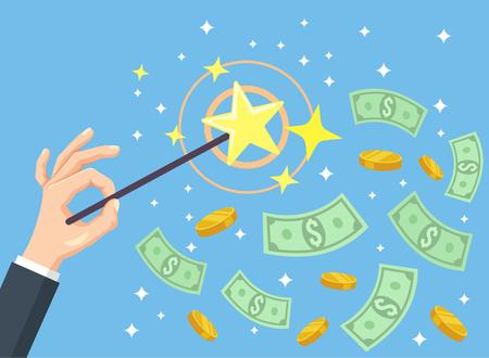 salarios: Mano que sostiene la varita mágica y el dinero. Vector ilustración de dibujos animados plana